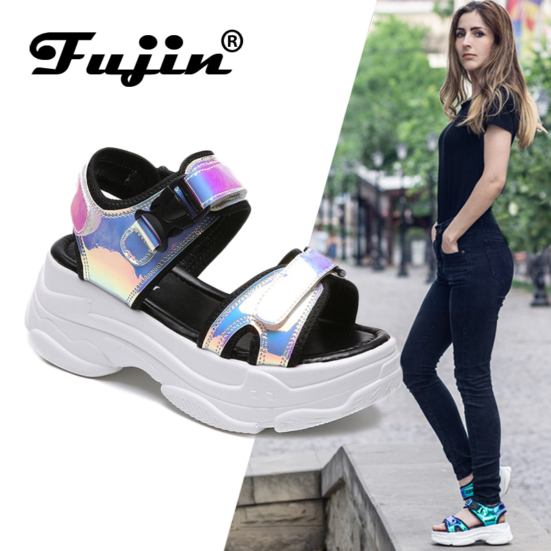 Fujin Brand Women Sandals 2019 New Fashion Ladies Casual Shoes Bling Wedges Buckle Strap  Platform Shoes  5 CM  Summer Sandals(China)