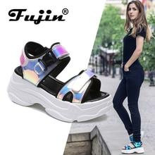 Fujin Brand Women Sandals 2019 New Fashion Ladies Casual Shoes Bling Wedges Buckle Strap  Platform 5 CM Summer