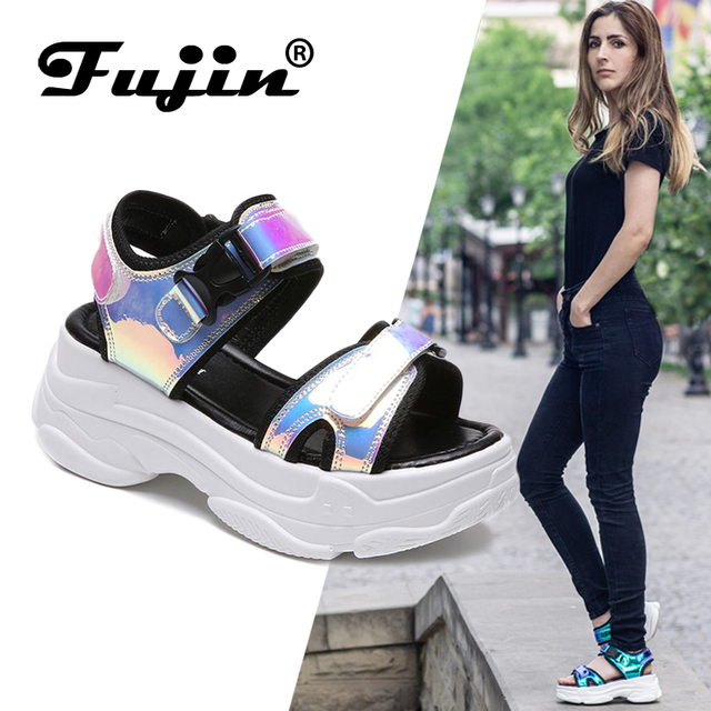 Fujin Marka Kadın Sandalet 2019 Yeni Moda Bayanlar rahat ayakkabılar Bling Takozlar Toka Askı platform ayakkabılar 5 CM Yaz Sandalet