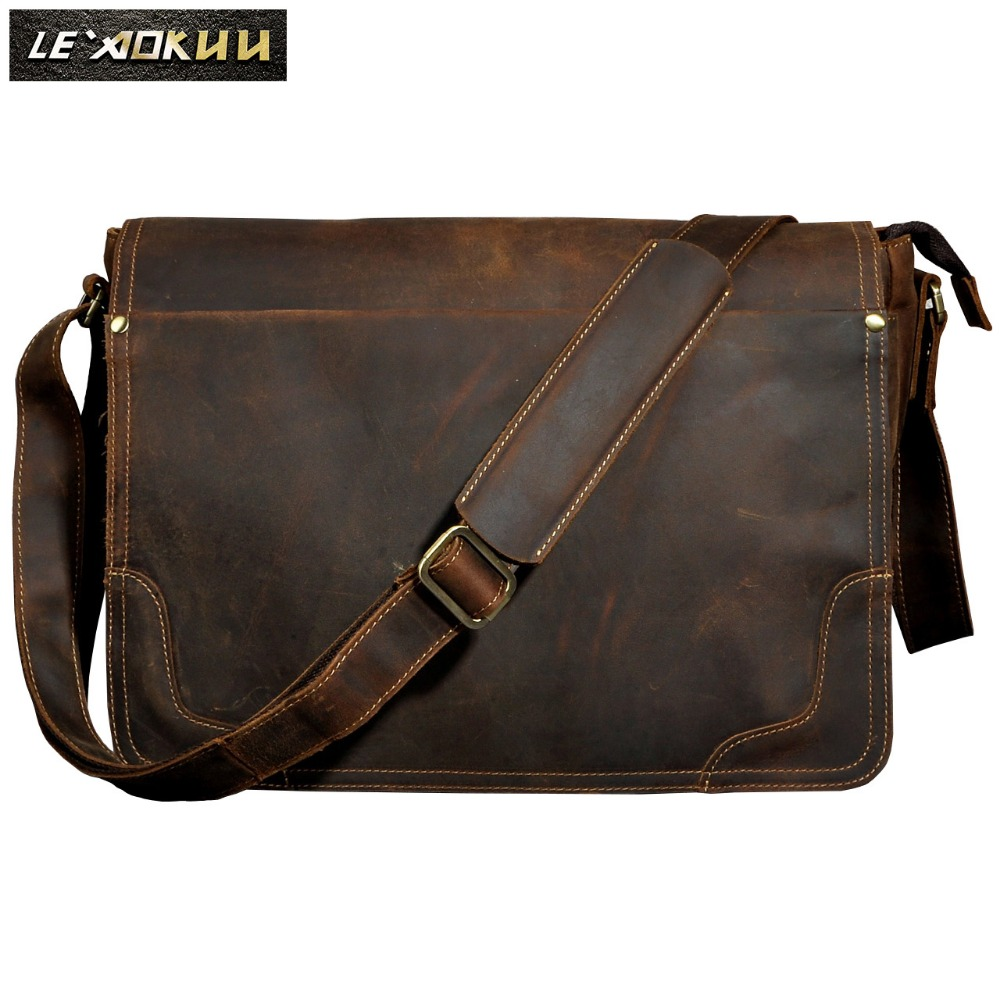 New Fashion Leather Male Casual Messenger bag Satchel cowhide 13 Laptop Bag School Book Cross body