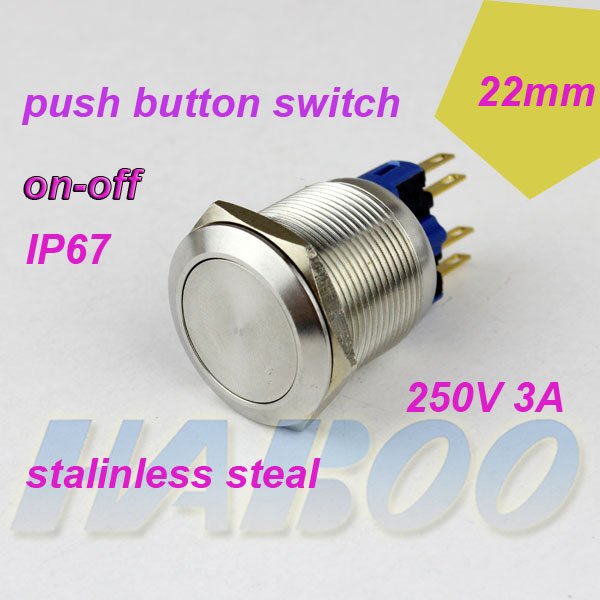10pcs/lot HABOO factory directly dia.22mm on-off metal switch flat head anti vandal self-locking switch 250V 3A waterproof IP67