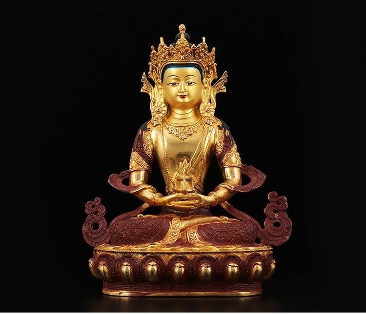 SALE-32CM chaude grande maison famille efficace Talisman bouddhisme thaïlande népal fait à la main dorure plaqué or Amitayus bouddha statue
