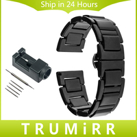 20mm Full Ceramic Watchband Link Remover For Diesel Men Women Watch Band Butterfly Clasp Strap Wrist
