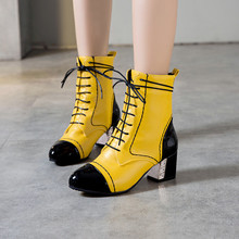 YMECHIC 2019 Yellow White Black Women Boots Winter Autumn Lace Up High Heels Ankle Boot Patchwork Sewing Woman Shoes Large Size