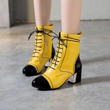 YMECHIC 2019 jaune blanc noir femmes bottes hiver automne à lacets talons hauts bottine Patchwork couture femme chaussures grande taille