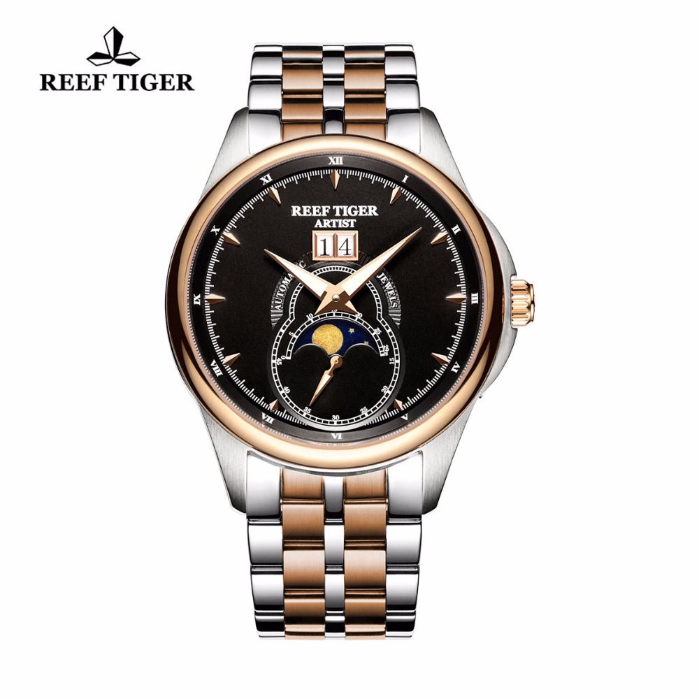 все цены на Reef Tiger/RT Fashion Dress Watches for Men Two Tone Rose Gold Moon Phase Watches with Big Date casual men's waterproof watch онлайн