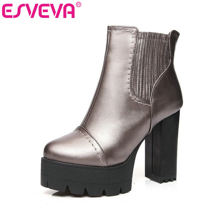 ESVEVA 2016 Metal Color Punk Autumn Shoes Women Square High Heel Ankle Boots Round Toe Ladies Platform Fashion Boots Size 34-43 esveva 2017 women fashion boots pu punk shoes square high heel ankle boots round toe women platform motorcycle boots size 34 42