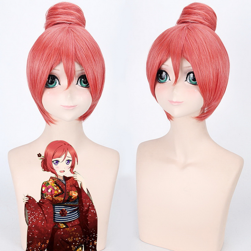 Love Live Maki Nishikino Straight Short Anime Wig Cosplay Heat Resistant Synthetic Watermelon Red Womens Wigs With Bun 30cm