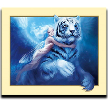 Diy Diamond Paint Cross stitch Embroidery Mosaic Resin square drill rhinestone Full embroidery Girl and tiger