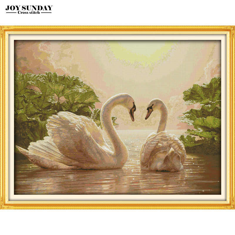 Two Swans Counted Cross Stitch Patterns 14CT 11CT Printed Canvas DIY Handwork Embroidery Set Needlwork Set DMC Home Paintings|Package|Home & Garden - title=
