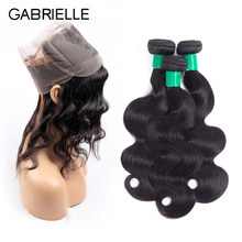 Gabrielle 360 Lace Frontal with Bundles Malaysian Human Hair Body Wave Lace Frontal with Baby Hair Non-Remy Hair Weaving(China)