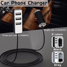 5.5A 4 Ports USB Car Charger Multiple Expander Car-charger Adapter Fast Charge Mobile Phone Charger 1.5m Cable