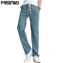 Misniki 2017 Лидер продаж сплошной сезон: весна–лето мужские льняные брюки большого размера повседневная мужская jogger брюки (Азиатский размер)(China (Mainland))