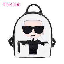 Thikin Women Karl Lagerfelds Backpack for Teen Girls Lady Mochila Mini  Leather Schoolbag Student Preppy Style Bag Girl Satchel