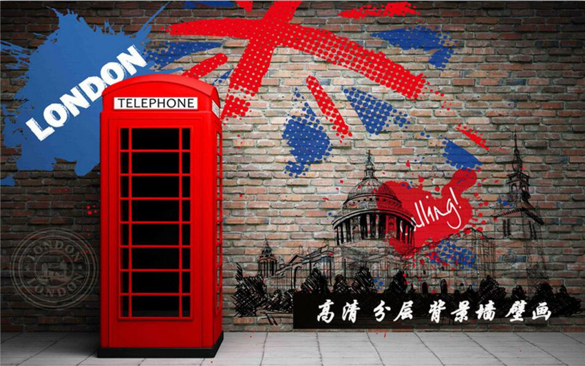 Custom 3D murals,Retro 3D stereo red phone booth papel de parede,hotel restaurant bar living room sofa TV wall bedroom wallpaper custom 3d murals cartoon wolf papel de parede hotel restaurant coffee shop living room sofa tv wall children bedroom wallpaper