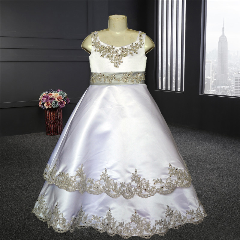 2018 Custom sizes New Beautiful   flower     girl     dress   Top quality Wholesale price Real photo 100% same as the real photo Sky-482