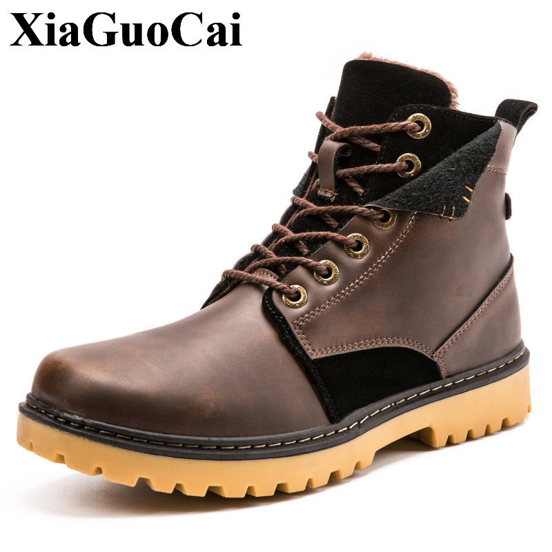 XiaGuoCai Brand Men Shoes Autumn Keep Warm Winter Boots Fashion Vintage Style Male Motorcycle Shoes High