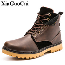 Фотография XiaGuoCai Brand Men Shoes Autumn Keep Warm Winter Boots Fashion Vintage Style Male Motorcycle Shoes High-Cut Men Casual Shoes