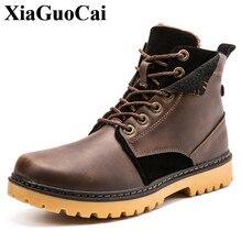 XiaGuoCai Brand Men Shoes Autumn Keep Warm Winter Boots Fashion Vintage Style Male Motorcycle Shoes High-Cut Men Casual Shoes