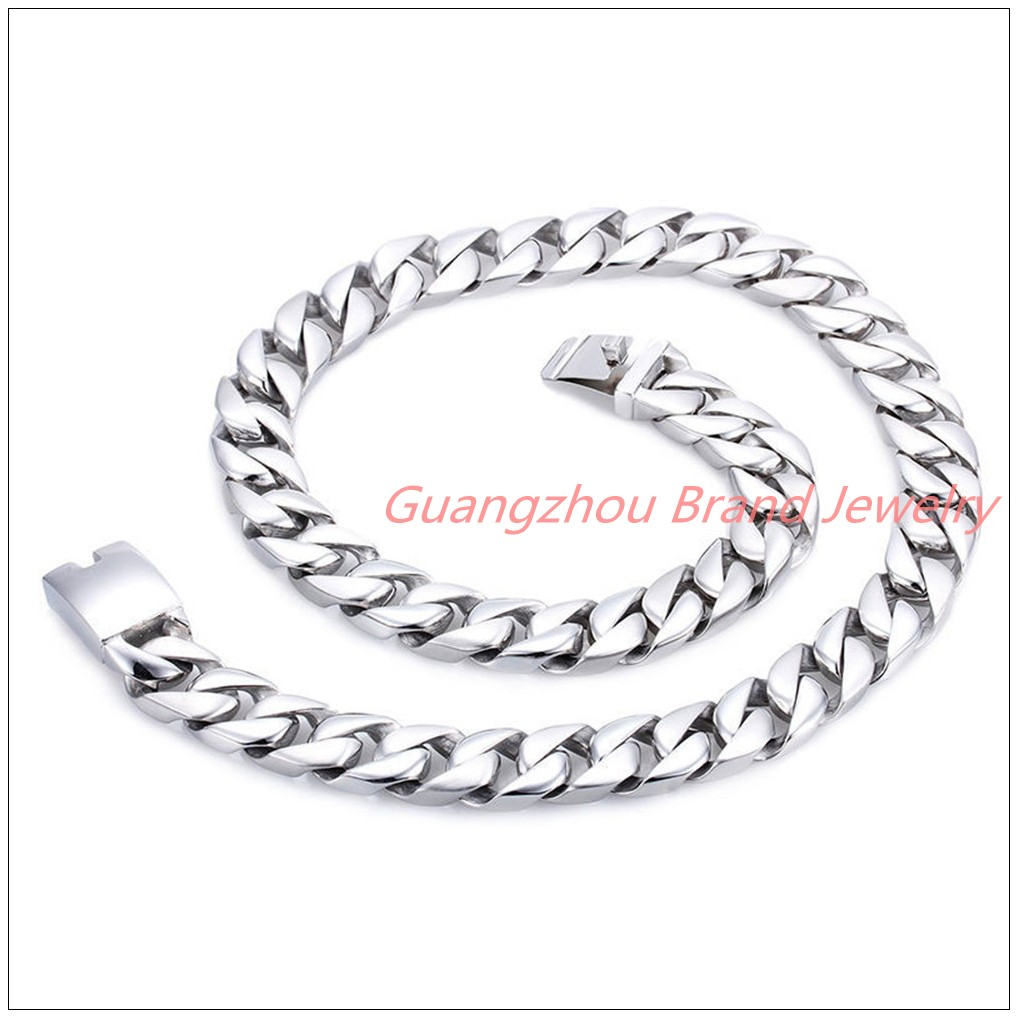 26.4*17mm 328g Top Design Fashion Jewelry 316L Stainless Steel Silver Curb Cuban Chain Men's Bling Necklace High Quality Heavy 20mm heavy jewelry 316l stainless steel silver gold black cuban curb chain mens bracelet bangle 8 5 high quality male wristband