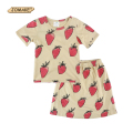 Girl Clothing Set Cotton Strawberry Print Girl Costume Casual Summer Baby Girls Clothes Sets T-shirt+Skirt Kids Suit Bobo Choses