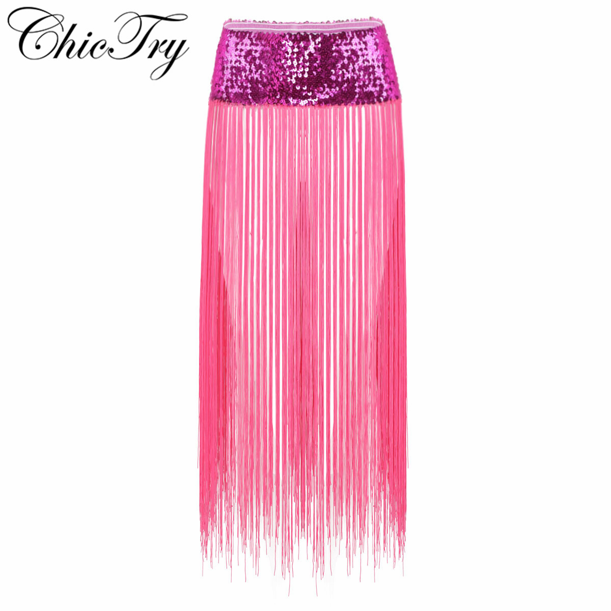 Sequins Women Ladies Belly Dance Clothes Accessories Stretchy Long Tassel Fringe Belts Women Female Belly Dance Hip Scarf Dress