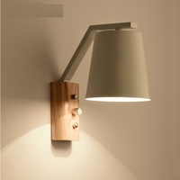 Japan Design Wall Lamp with Wood Panel and Metal Shade, 23cm Height