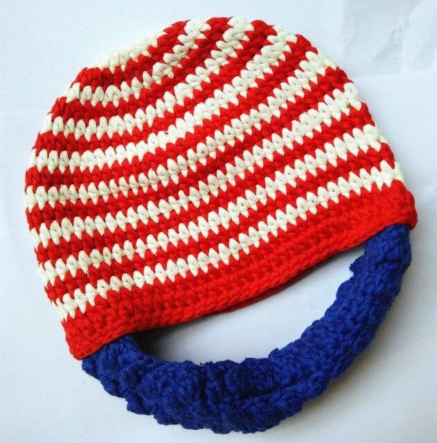 A la venta Del Bebé bebé Barba beanie rojo azul barba sombrero de la ...