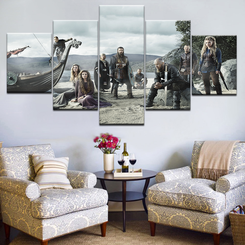 5 Piece TV Series Vikings Poster Modern Home Decor Wall Painting Canvas Art HD Print Modular Picture