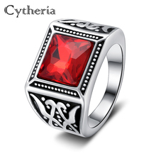 vintage red crystal rings cocktail party ring for men irregular clear metal Ring big wild man