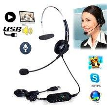 SzKosTon yüksek kalite usb kulaklık gürültü iptal ayarlanabilir operatör adanmış mikrofonlu kulaklıklar PC Laptop için