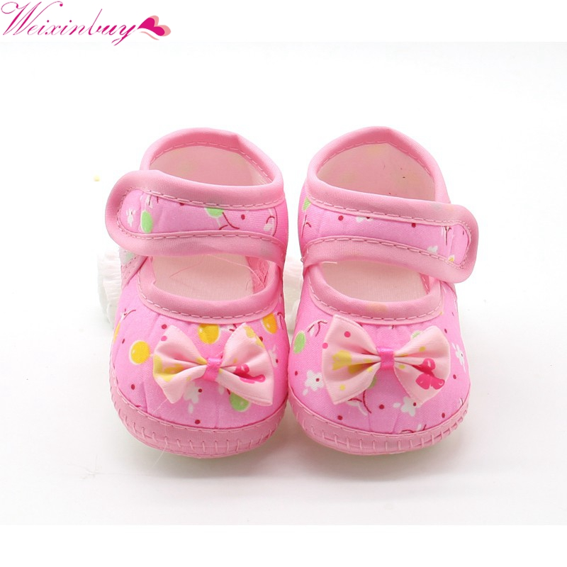 Autumn Prioncess Lovely Baby Girl Cloth Soft Sole Bowknot Shoes First Walkers Round Dot  ...