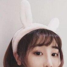 Cute Coral Fleece Cat Ear Headband Women Girl Soft Wash Face Bath Elastic Hair Band Makeup Head Accessories