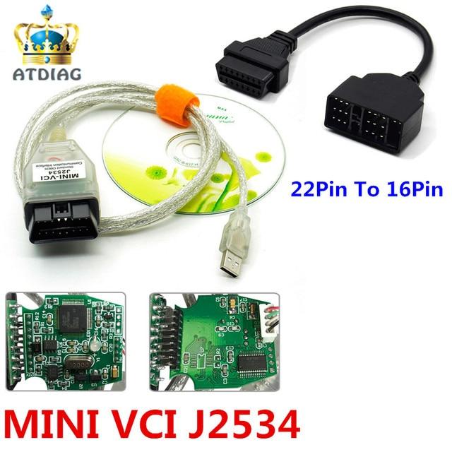 Мини VCI FT232RL V12.00.127 печатная плата с зеленым чипом 22Pin автомобильный диагностический интерфейс OBDII MINI VCI J2534