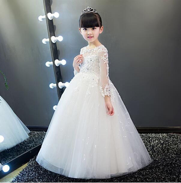 Elegant White Tulle Sequin Girls Wedding Dress Ankle Length Appliques Kids Party Prom Dress Long