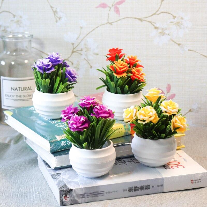Zinmol Small Artificial Plants Decorative Flowers Mini Potted Bonsai Home Decoration Office Balcony Decorate 1 Set Plants Vase Aliexpress