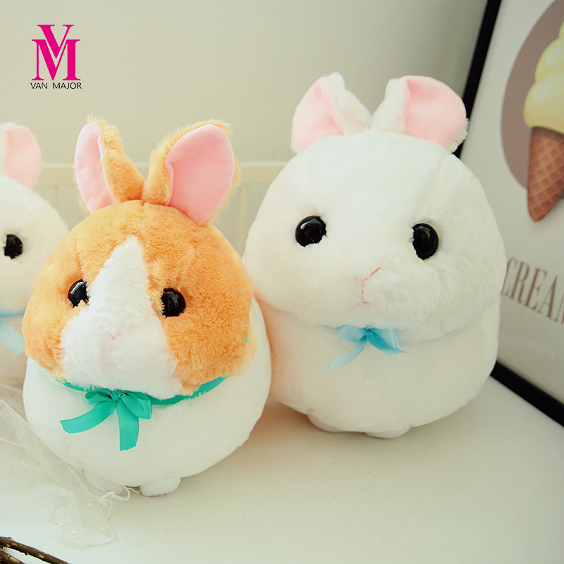 33cm Kawaii Round Long Ears Rabbit Plush Toy Staffed Soft Animal Doll Cute Ball Kids Baby Doll Children Kawaii Birthday Gift