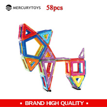 MERCURYTOYS 58 pcs free manual free toy bag Magnetic blocks kids educational magnetic models & building blocks magnetic toys