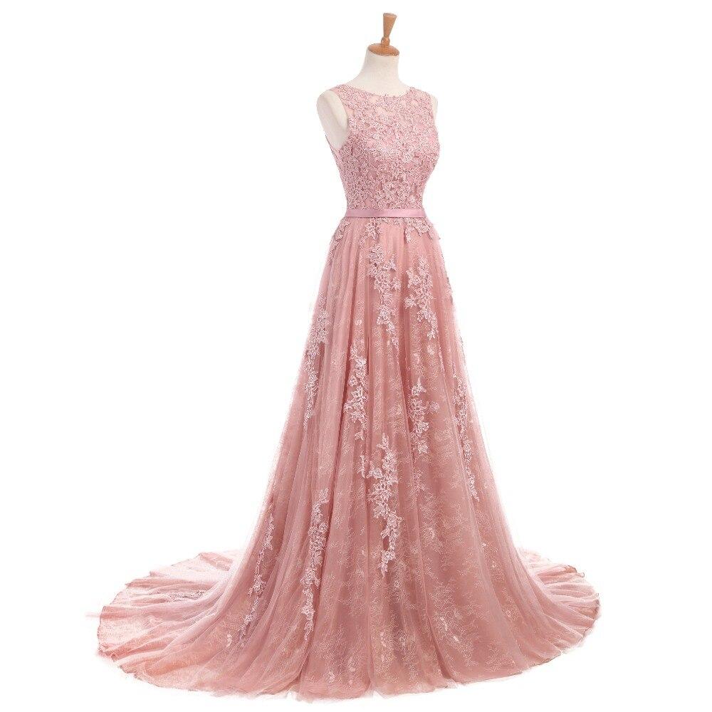 Dusty Rose Elegant Long Evening Dresses 2017 A-Line Lace Appliqued - Särskilda tillfällen klänningar - Foto 3