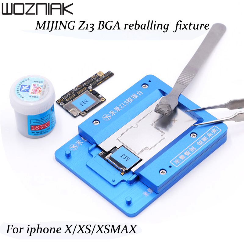 MJ Z13 Metal Tin Planting Platform With BGA Reballing Stencil For IPhone X XS XS MAX Soldering Repair Tools