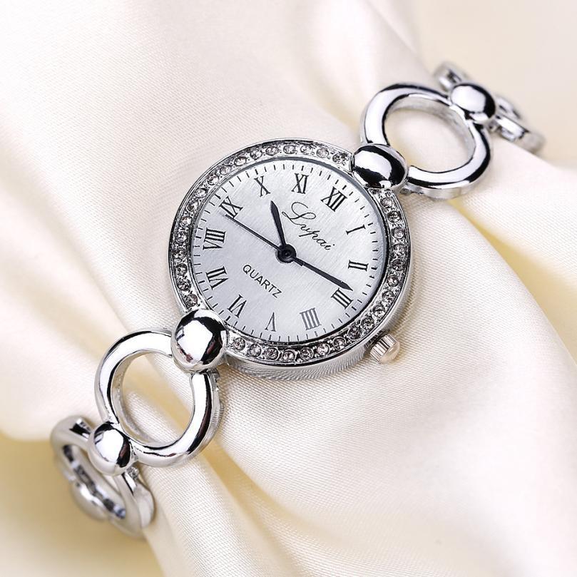LVPAI Vintage Metal Watch Bracelets for Womens Top Brand Luxury Crystal Dial Analog Quartz Watches Women Clock Montre Femme amica luxury crystal diamond blue shell dial womens quartz watch ladies watch