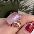Romantic rose quartz ring exaggerated gemstone ring for woman solid 925 silver 15*20mm natural rose quartz silver ring