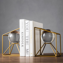 Nordic creative Metal crystal ball Bookend statue home decor crafts room decoration objects office study figurines