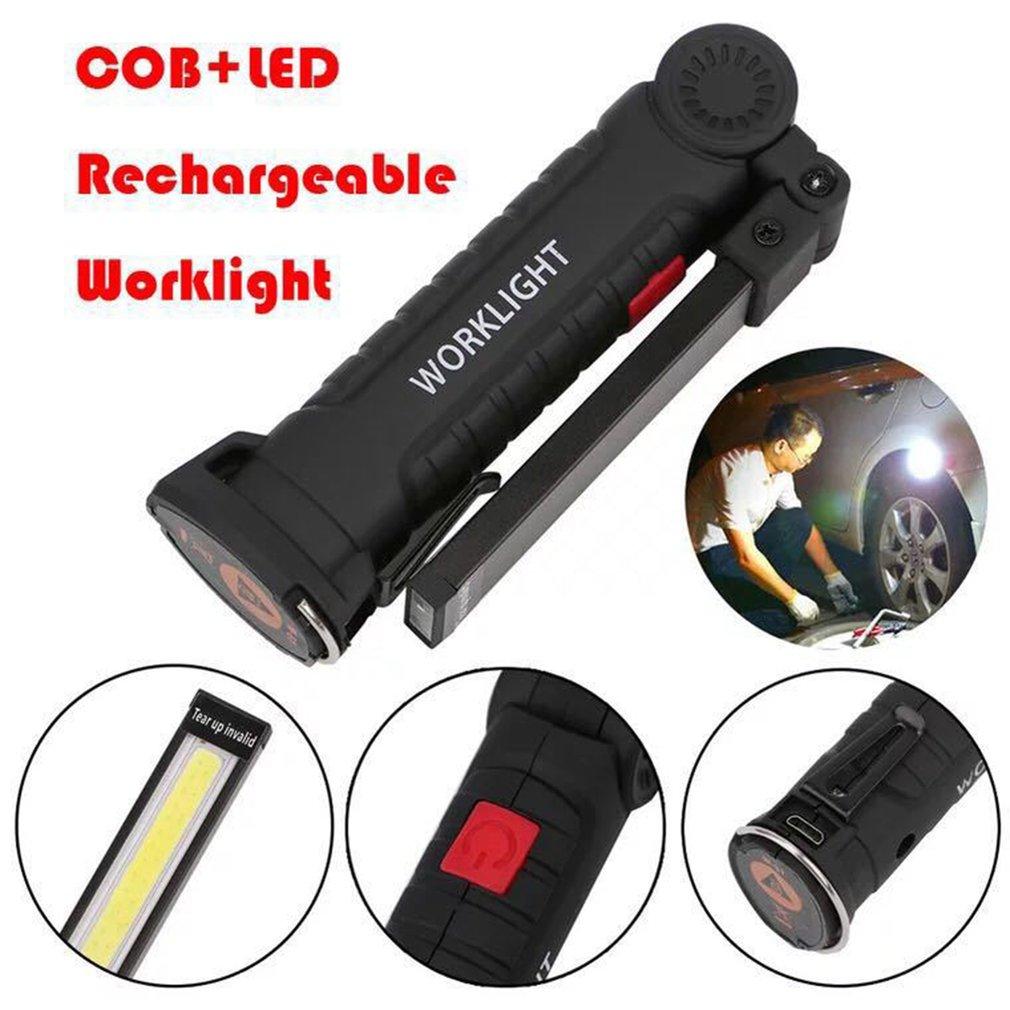 Tragbare USB Falten Freien Helle COB + LED Wiederaufladbare Cordless Notfall Arbeit Licht Taschenlampe Taschenlampe Handliche Inspektion Lampe