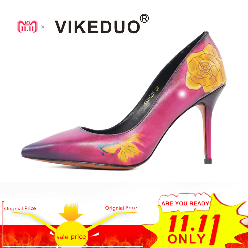 VIKEDUO Handmade Classic Genuine Leather Shoes Women Fashion Flower Pattern Lady Party Wedding Dress Shoes Women High Heel Shoes 2016 handmade fashion 5cm heel height bridal shoes lady dress shoes wedding shoes pearl low heel size 34 to 40 women shoes
