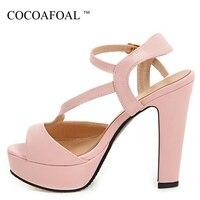 COCOAFOAL Woamn Pink High Heels Sandals Plus Size 33 43 12 CM Shoes Sexy Platform Peep