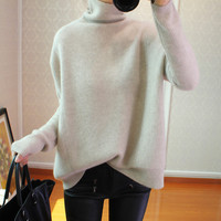 18 new cashmere sweater female high collar Korean version of lazy loose pullover sweater solid color large size bottoming shirt