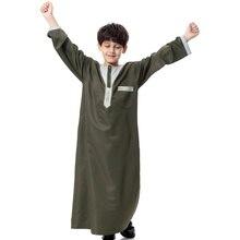 2017 Fashion Child Boys Saudi Style Thobe Thoub Robe Daffah Dishdasha Islamic Arabian Kaftan Fit 6-18 Years Hot