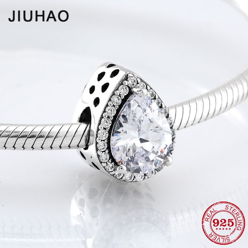 2018 Fashion 925 Sterling Silver sparkling Water drop shape CZ beads Fit Original Pandora Charm Bracelet Jewelry making strollgirl car keys 100% sterling silver charm beads fit pandora charms silver 925 original bracelet pendant diy jewelry making