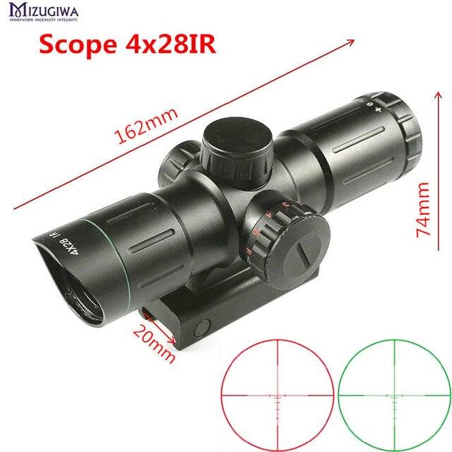 Охотничий прицел 4X28IR лазерный зеленый красный с подсветкой дальномер Сетка Оптика прицел Снайпер охотничий короткий прицел Каза